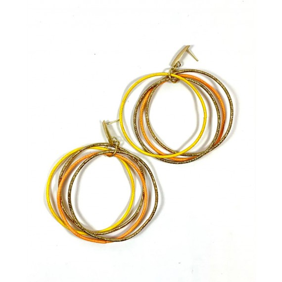 Brinco Argolas - Douradas com Laranja e Amarelo