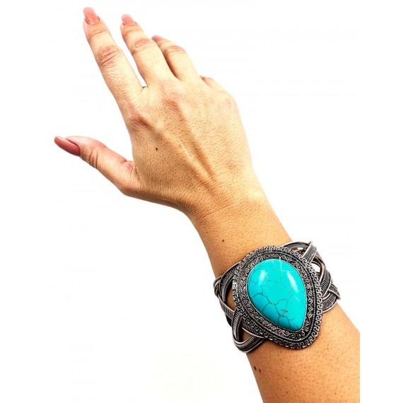 Bracelete Prata Envelhecida Gota - Turquesa