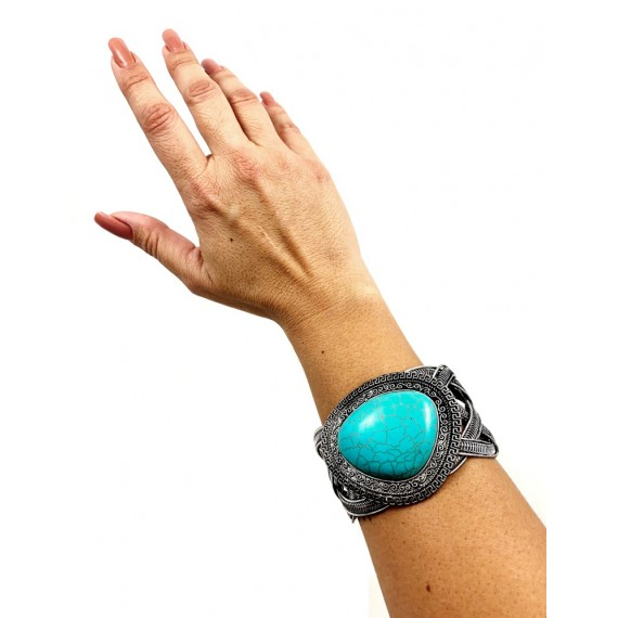 Bracelete Prata Envelhecido - Turquesa