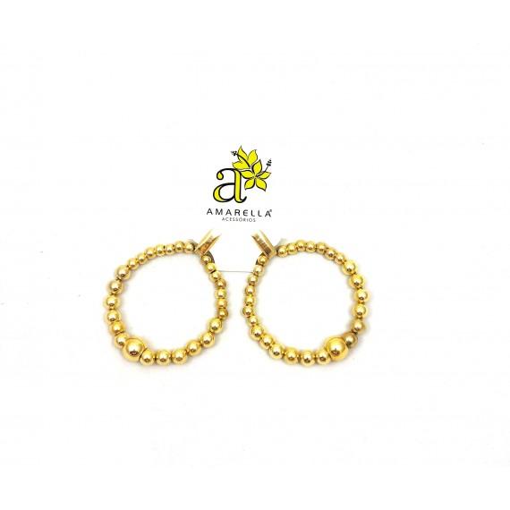 Brinco Argola Grande - Bolas Douradas