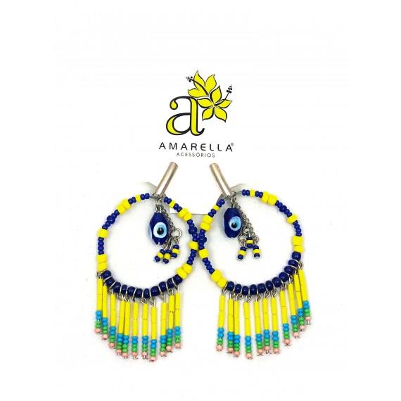 Brinco Argola - Azul e Amarelo