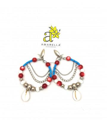 Brinco Argola Búzios - Azul e Vermelho
