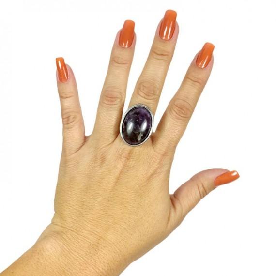 Anel Modelo 14 (Regulável - Oval Pedra Lilas)