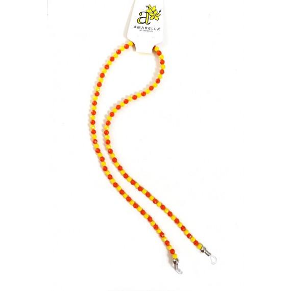 Cordinha de Óculos - Bolinhas Laranjas e Amarelas