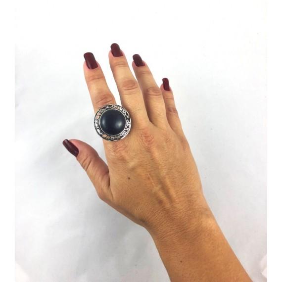 Anel Modelo 1 (Regulável - Redondo metal pedra preta)