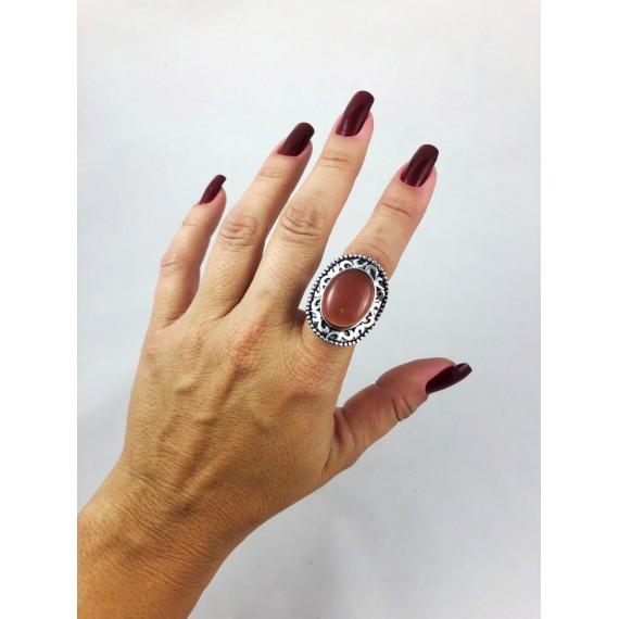 Anel Modelo 11 (Regulável - Oval metal pedra marrom)