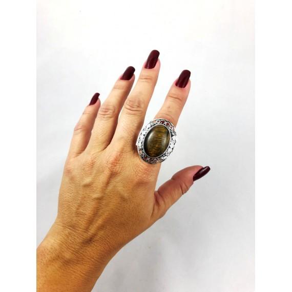 Anel Modelo 12 (Regulável - Metal oval pedra rajada)