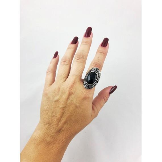 Anel Modelo 18 (Regulável - Oval metal pedra preta)