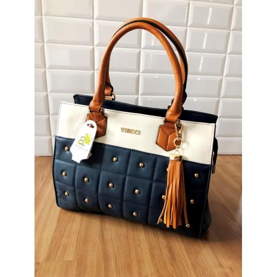 Bolsa Azul Marinho - Alça Caramelo