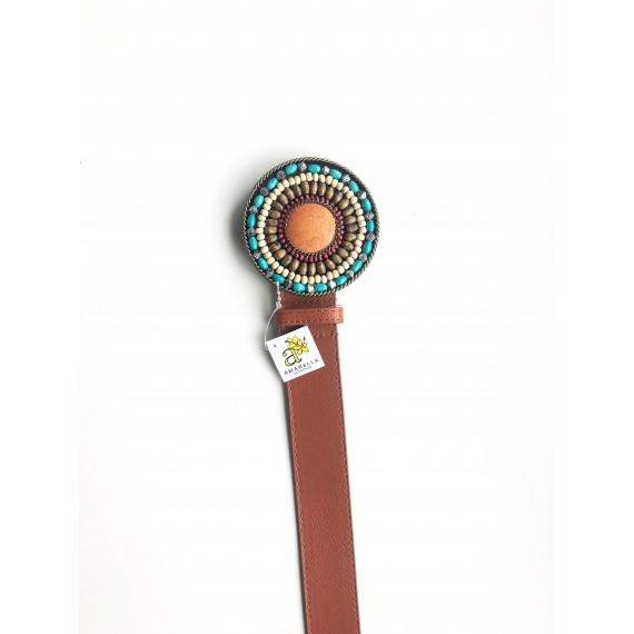 Cinto Fivela Grande Redonda - Caramelo