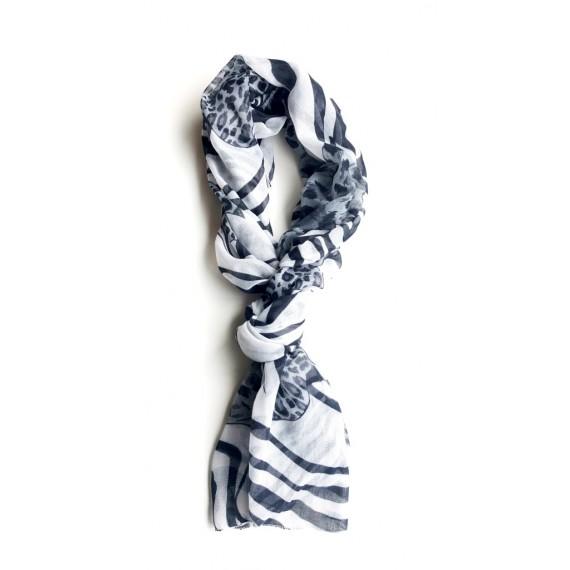Lenço Estampado - Preto e Branco Fino