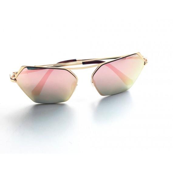 Óculos Escuro Detalhes Dourados - Lente Rose Espelhada Proteção Uv