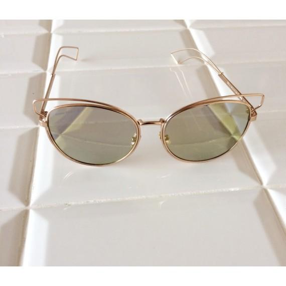 Óculos Escuro Armação Dourada - Lente Espelhada Amarela Proteção UV