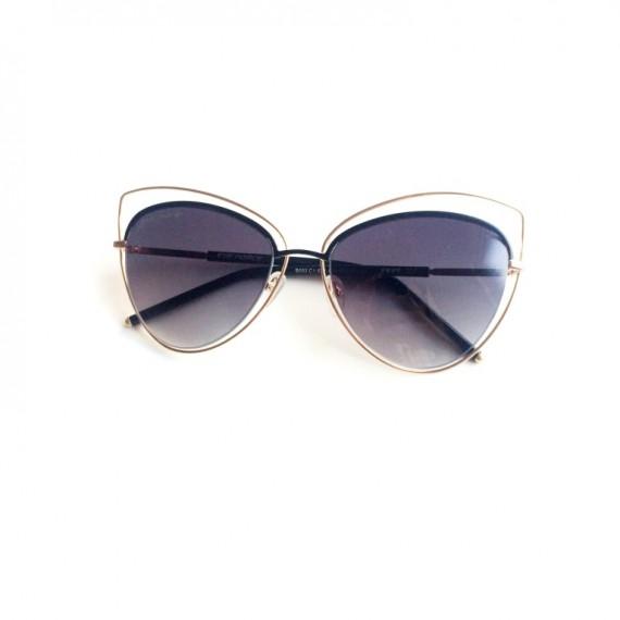 Óculos Escuro Gatinho Armação Dourada - Lente Preta Proteção UV