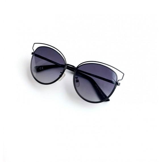 Óculos Escuro Armação Fina Preta - Lente Preta Proteção UV